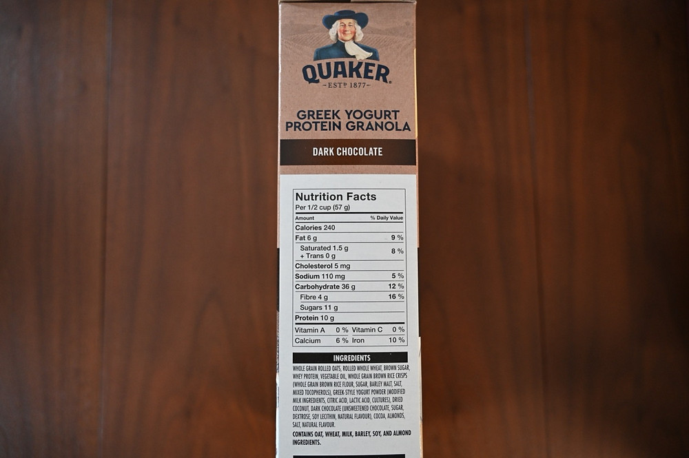 Costco Quaker Greek Yogurt Granola Nutrition