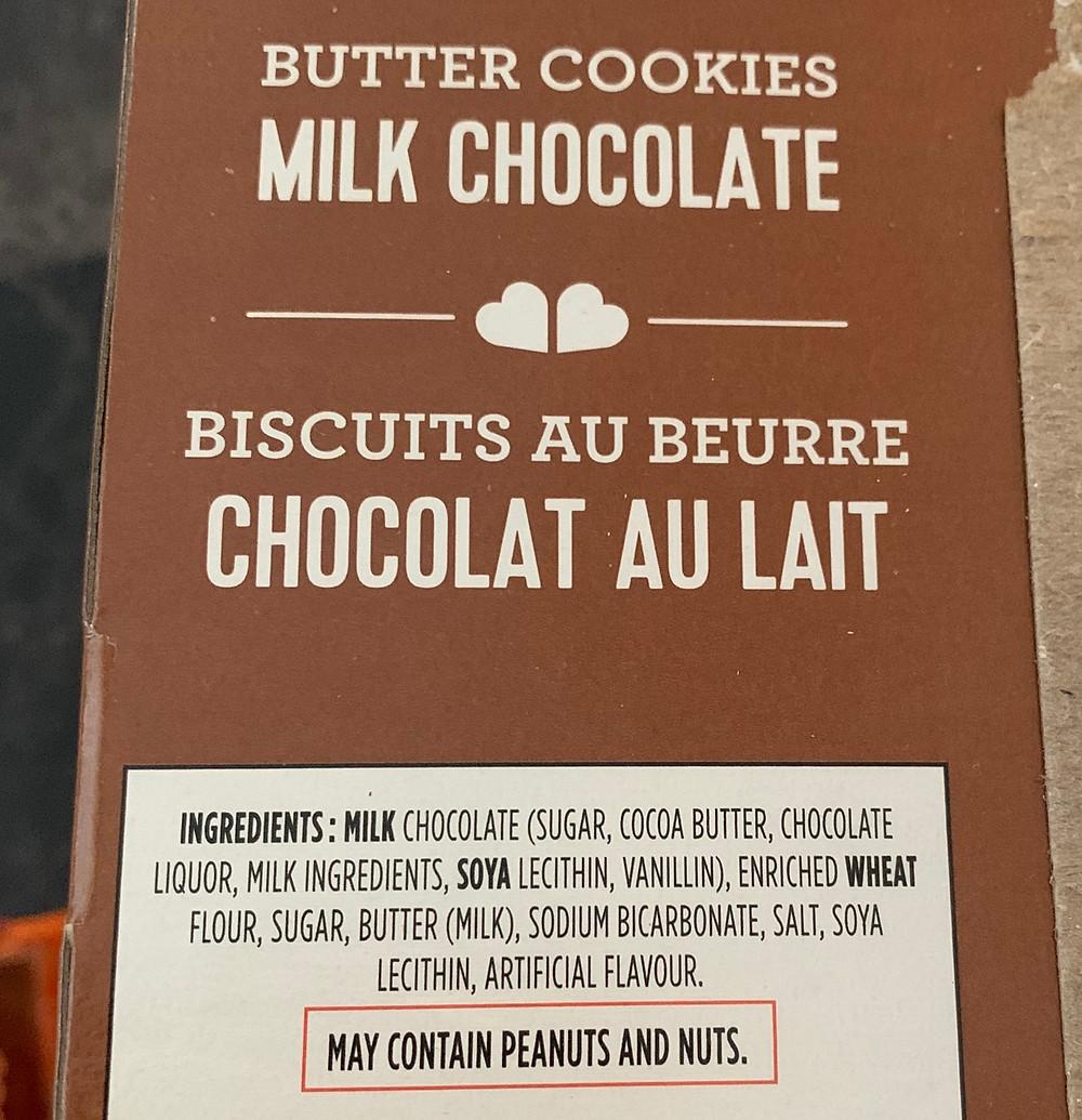 Costco Leclerc Celebration Milk Chocolate Cookie Ingredients