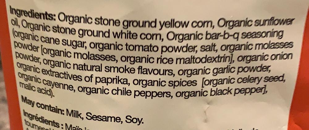 Costco RW Garcia Organic Corn Chips Bar-B-Q Flavor Ingredients