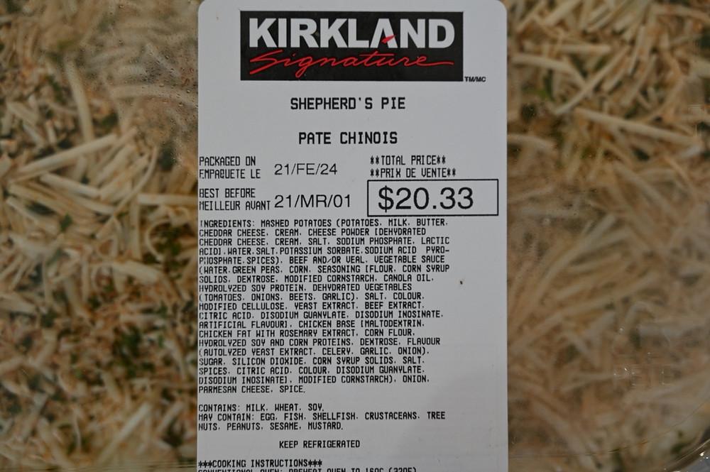 Costco Kirkland Signature Shepherd's Pie Ingredients