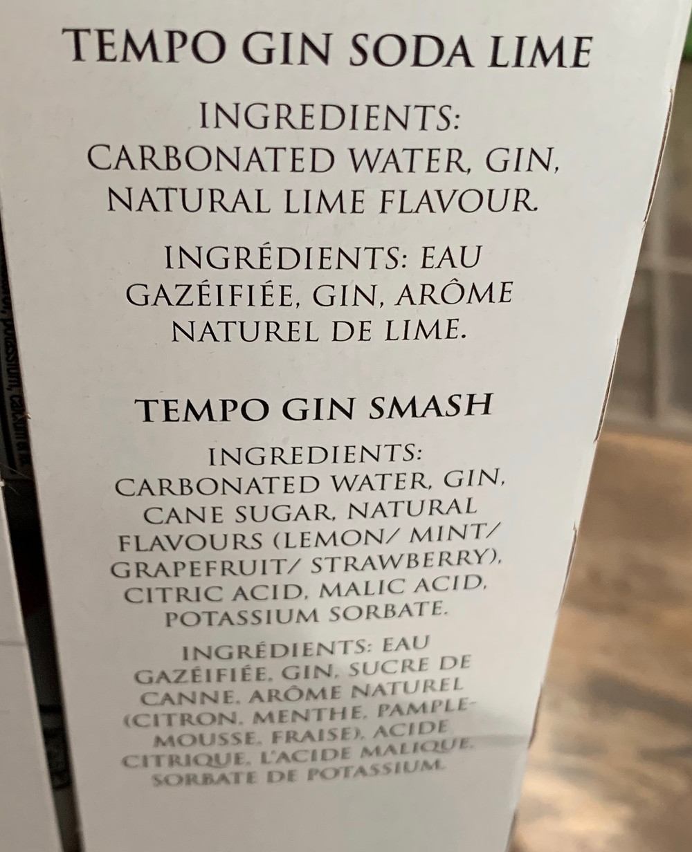 Costco Tempo Gin Smash Pack Ingredients