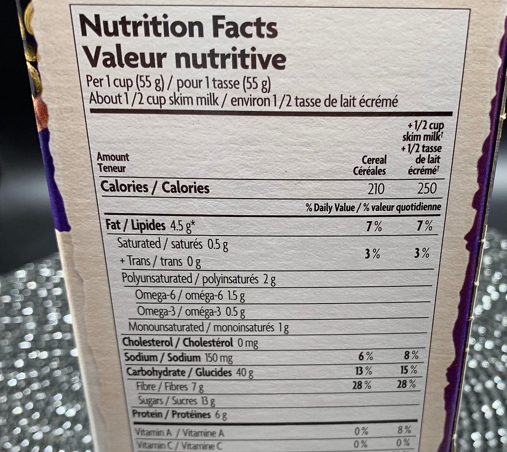Costco Nature's Path Organic Flax Plus Pumpkin Raisin Crunch Nutrition