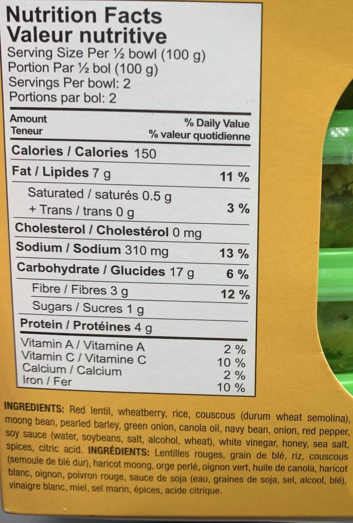 Summer Fresh Seven Grain Salad from Costco Nutrition