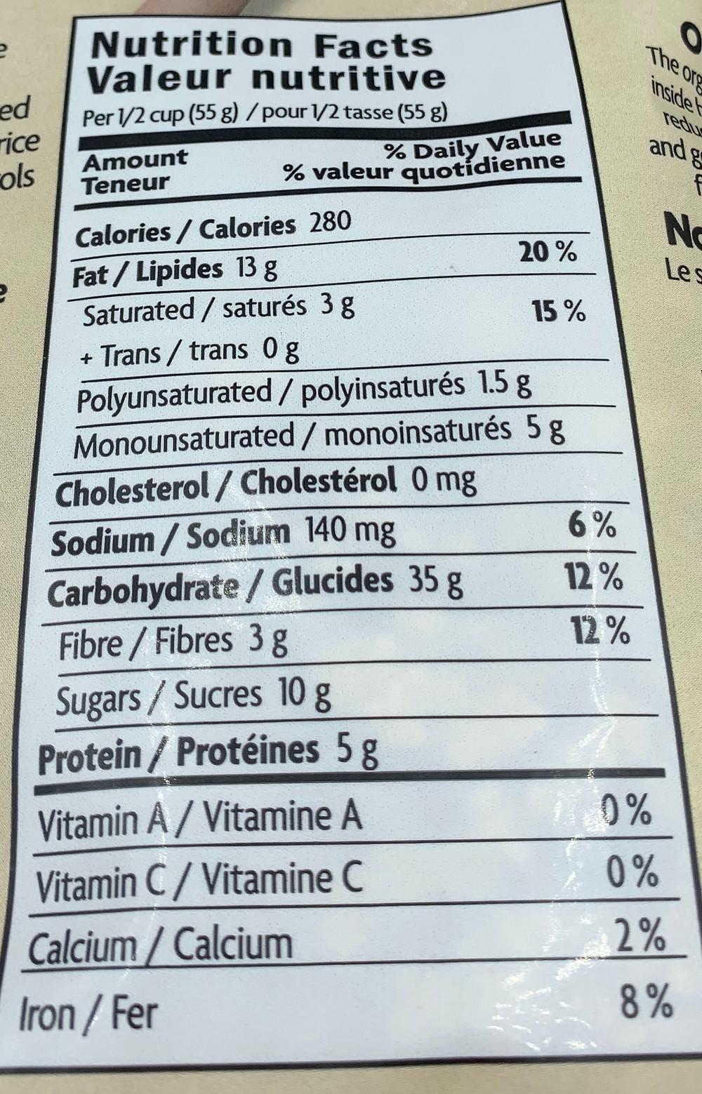 Costco Nature's Path Organic Coconut & Cashew Butter Granola Nutrition