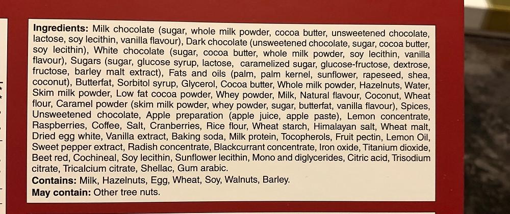 Costco Gudrun Fine Belgian Chocolates Ingredients