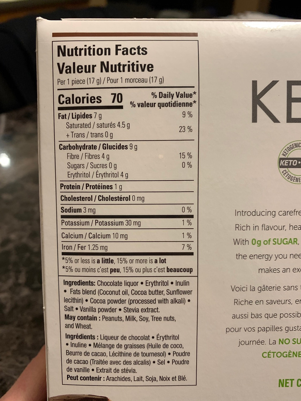 Costco NoSugar Company Keto Bomb Nutrition and Ingredients