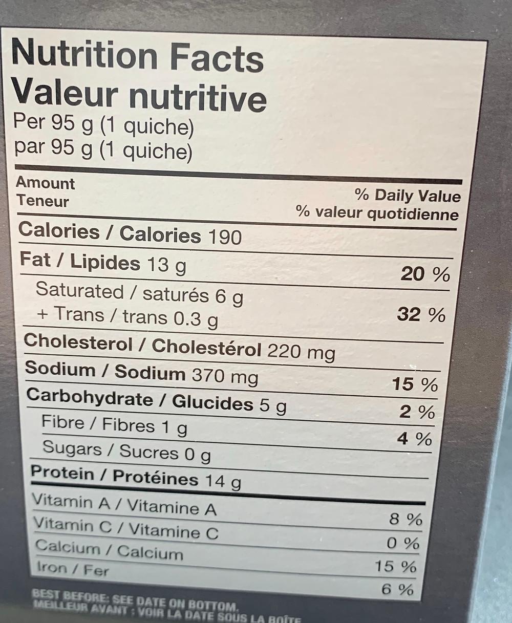 Costco Burnbrae Farms Egg Bakes Nutrition