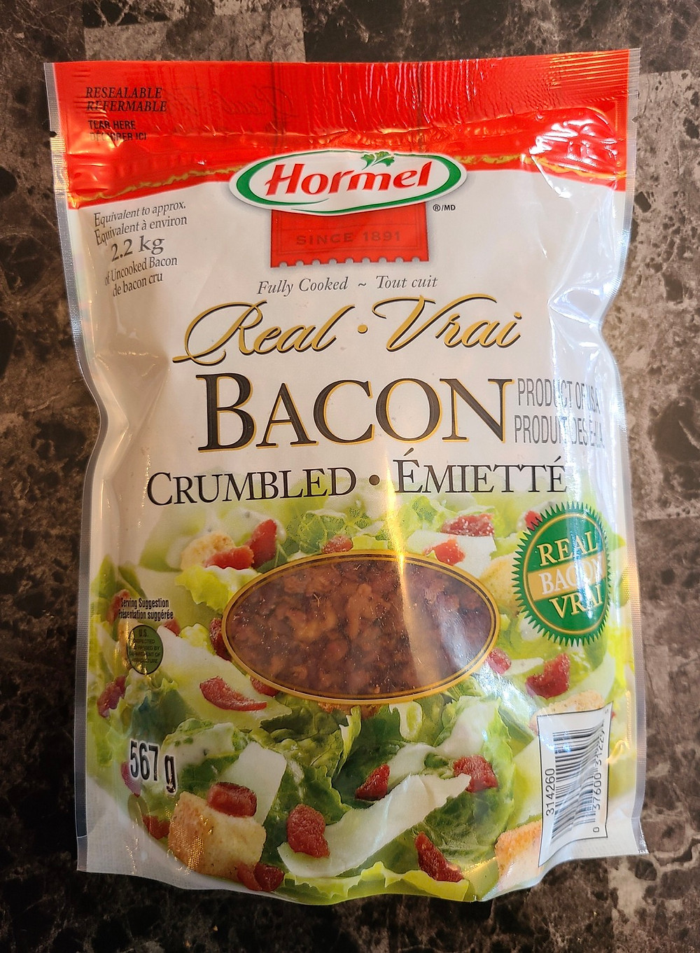 Costco Hormel Fully Cooked Real Crumbled Bacon