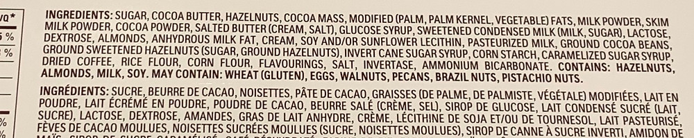 Costco Ferrero Golden Gallery Chocolates Ingredients