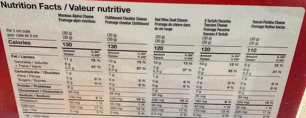 Costco Kirkland Signature Cheese Flight Nutrition