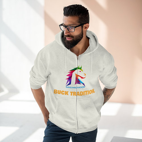 Unisex Buck Tradition Front Print Only - Premium Full Zip Hoodie