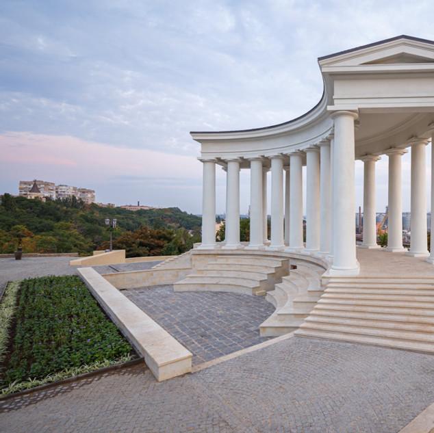 Облет отреставрированной колоннады в Одессе