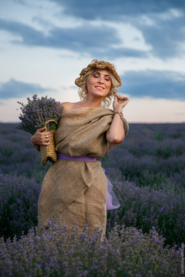 portrait of a girl in lavender field