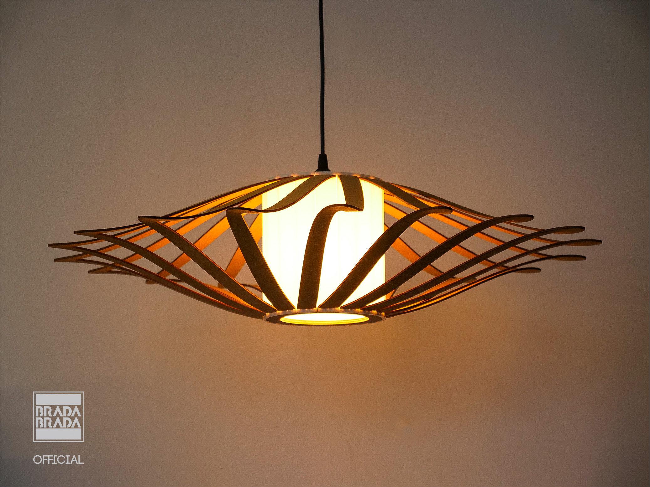Ufo Wooden Lamp Shade Hanging Lamp Ceiling Light Wood Lamp Wooden Fixture Pend Brada Brada