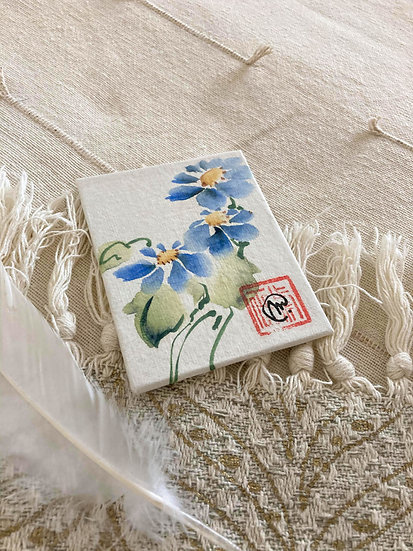 Aquarelle Chinoise Fleurs bleues 4