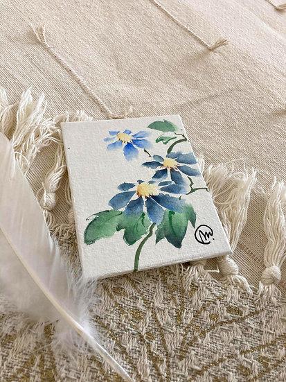 Aquarelle Chinoise Fleurs bleues 3