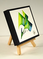 P.G.I. vert bleu sur chevalet - Christine Magré art vibratoire