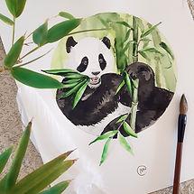 Aquarelle Panda Bambous - Christine Magré art vibratoire