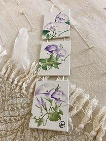 Aquarelle chinoise trio de volubilis - Christine Magré art vibratoire