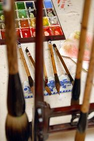Pinceaux chinois pour aquarelle chinoise - Christine Magré art vibratoire