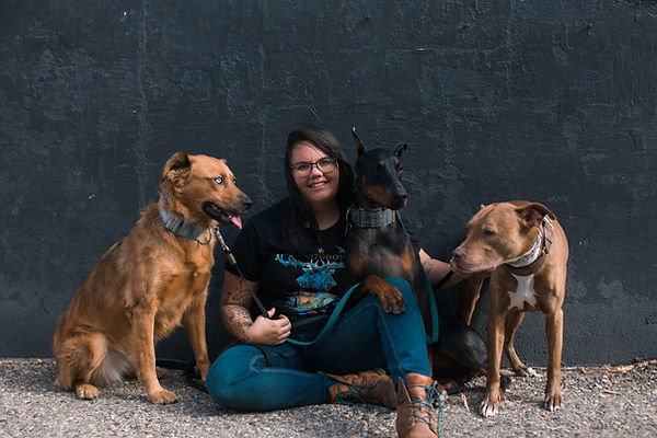 Owner of Rogue Pet Photography Sitting With Three Large Dogs