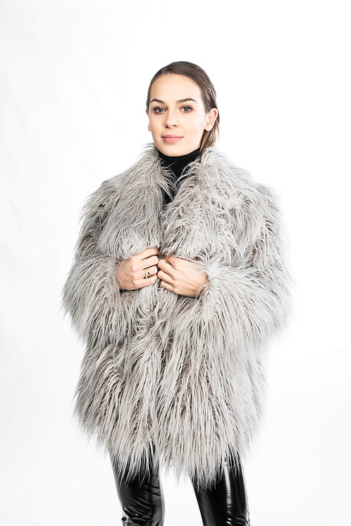 Gray faux fur jacket with flaps