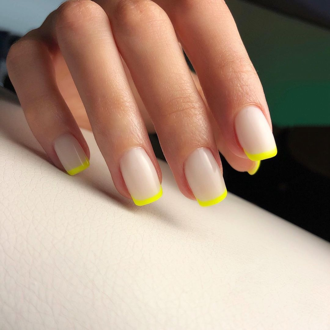 Yellow French Manicure By Le diX concept Paris