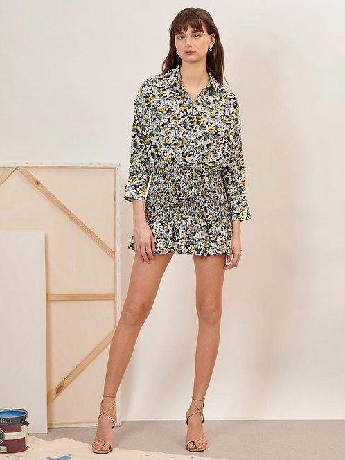 Figurative Ruched Shirt Dress
