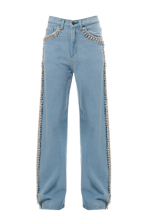 WIDE-LEG FULL-LENGTH JEANS WITH CRYSTALS