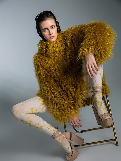 Yellow faux fur jacket with collar