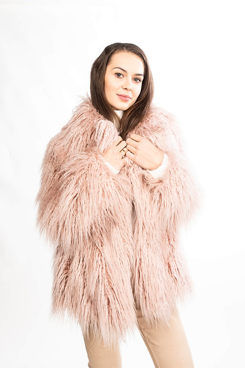 Light pink faux fur jacket with flaps