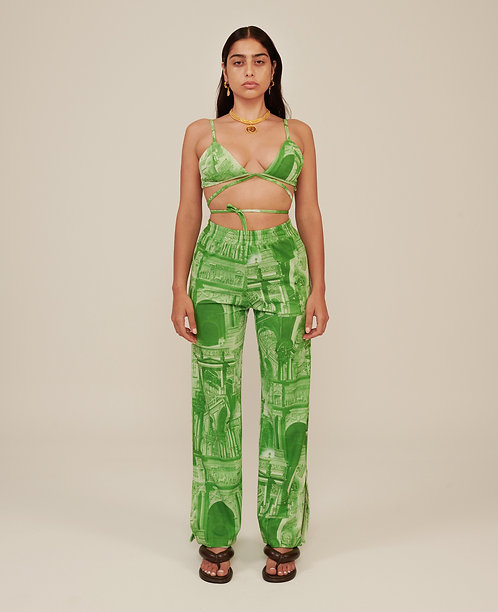PRINTED FLARE PANTS WITH SIDE VENTS