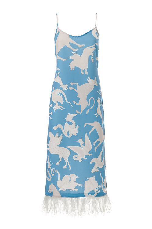 PRINTED SLIP DRESS WITH FEATHERS
