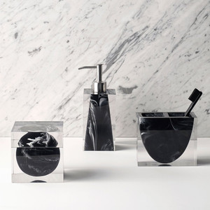 Black Marble with Acrylic Bath accessories Kassatex Josephine Faye