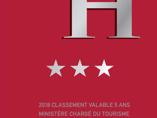 La Tissandière Hôtel est désormais classé 3 étoiles !