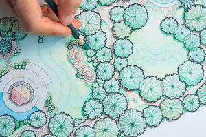 layout plan of home landscape design or garden design drawing by hand with color pencil on