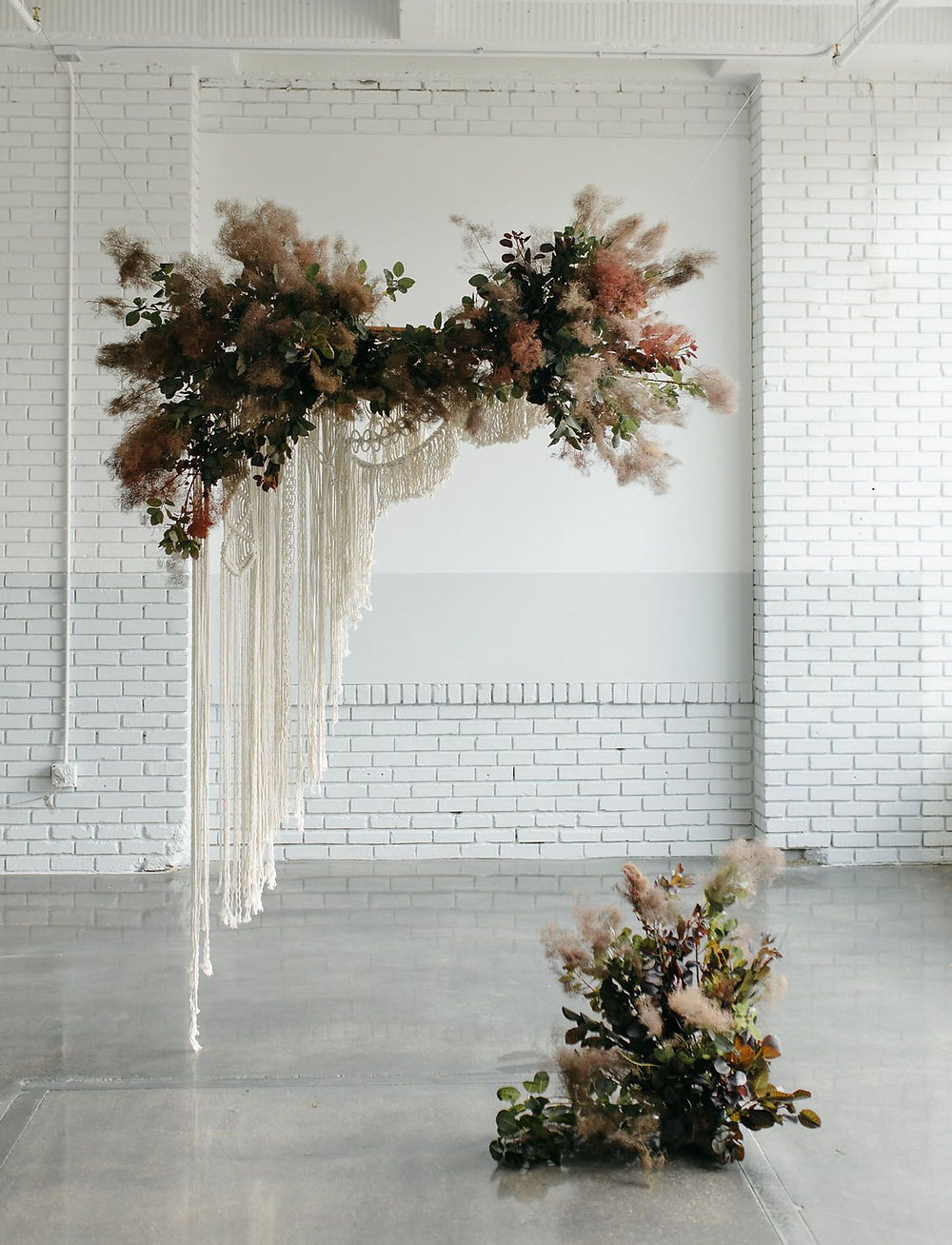 Floating Macramé Backdrop with Mute Floral Greens