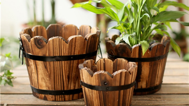 Vintage Wood Vase Bucket  for Artificial Flowers