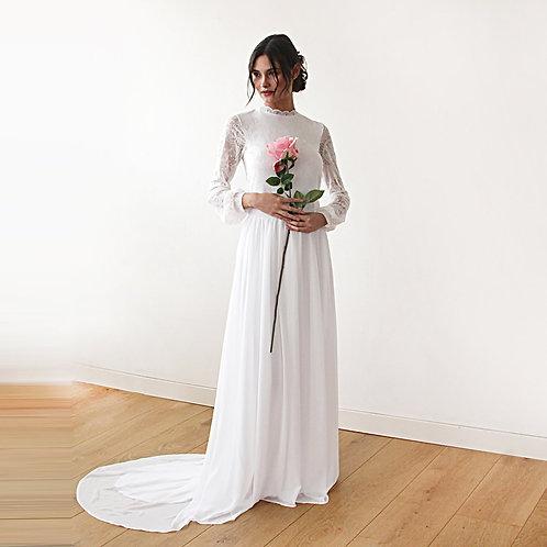 High Neck & Open Back Wedding Dress  #1181
