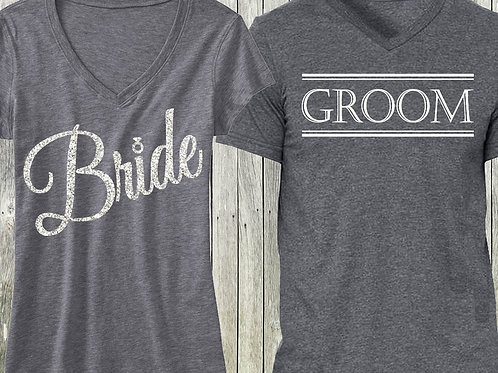 Gray Script Bride Shirt + Gray Groom Shirt SPECIAL