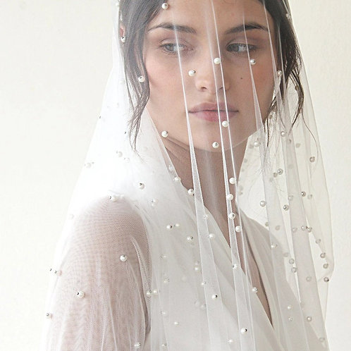 Wedding Pearls Soft Tulle  Veil #4023