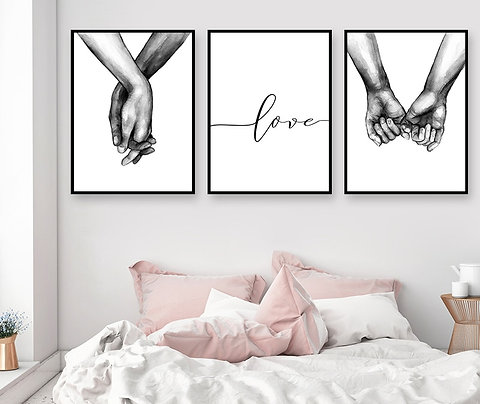 Black and White Holding Hands Canvas Prints