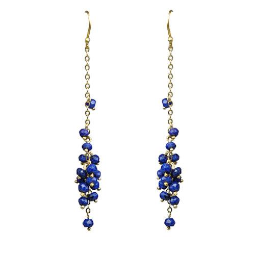 Lapis Lazuli Cascading Cluster Earrings