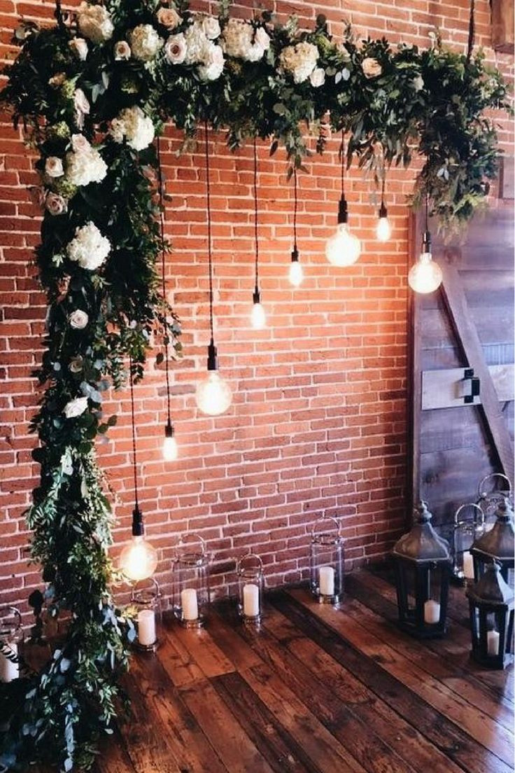 Floating Greenery & Lighting for Ceremony Backdrop