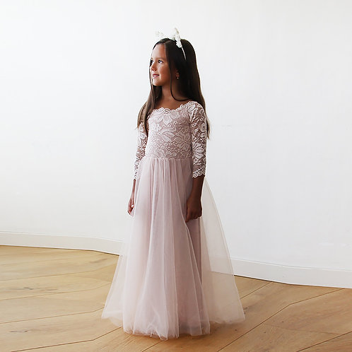 Pink Off-The-Shoulder Lace & Tulle Maxi Flower Girls Gown #5040
