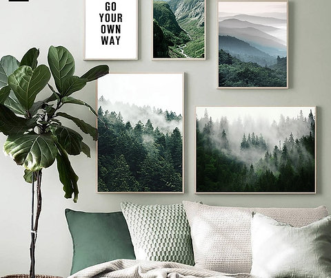Mountain Foggy Forest Picture Nature Scenery Poster