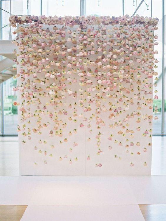 Pink Floral Backdrop for Spring Wedding Ceremony