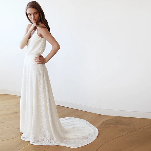 Floral Lace Bridal Maxi Skirt With  Train #3026