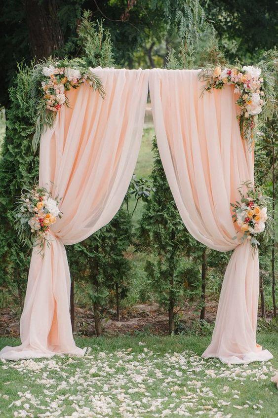 Classic Hi Quality Pink Chiffon Drapes with Floral Arrangements