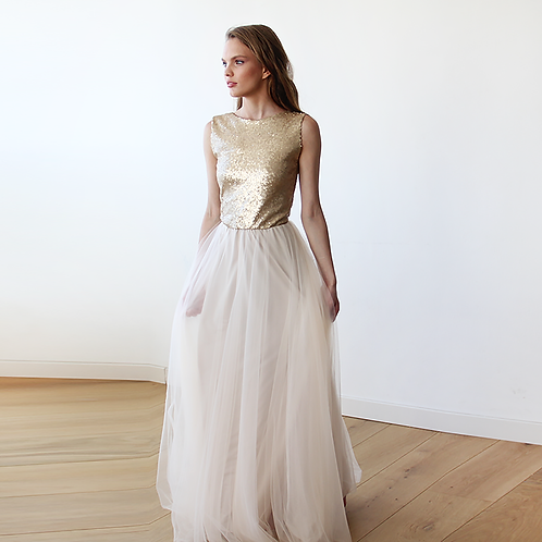 Sleeveless Gold Sequins Maxi Tulle Dress With Open-Back  #1099